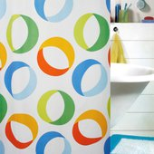 Штора для ванной 180x200см текстильная мультиколор Spirella Rings 1015185