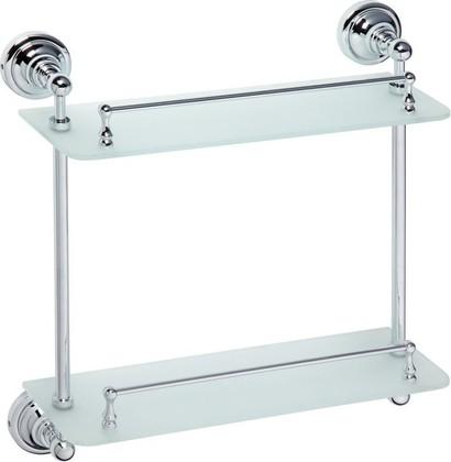 Полка для ванной, двойная стеклянная 400мм, хром, Bemeta 144301122