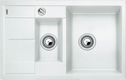Кухонная мойка оборачиваемая с крылом, с клапаном-автоматом, гранит, белый Blanco METRA 6 S COMPACT 513468