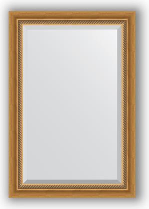 Зеркало с фацетом в багетной раме 63x93см состаренное золото с плетением 70мм Evoform BY 3431