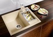 Кухонная мойка Blanco Metra 6, без крыла, с клапаном-автоматом, гранит, алюметаллик 516156