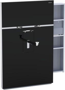 Инсталляция для подвесного умывальника и смесителя, выдвижной ящик справа 10 см, чёрное стекло Geberit MONOLITH 131.049.SJ.1