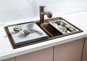 Кухонная мойка основная чаша слева, без крыла, с клапаном-автоматом, гранит, кофе Blanco Axia II 8 516891