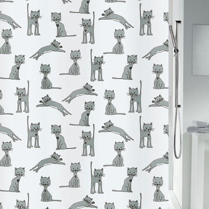 Штора для ванной Spirella Cats, 180x200см, текстиль, чёрно-белый 4007570