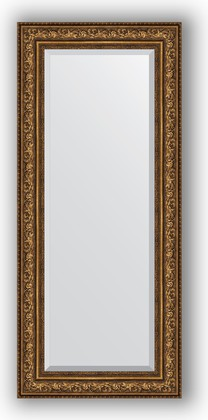 Зеркало с фацетом в багетной раме 65x150см виньетка состаренная бронза 109мм Evoform BY 3557