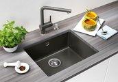 Кухонная мойка без крыла, с клапаном-автоматом, керамика, серый алюминий Blanco Subline 500-U PuraPlus 514512