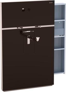 Инсталляция для подвесного умывальника и встроенного смесителя, выдвижной ящик справа, стекло умбра Geberit MONOLITH 131.045.SQ.1