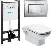 Система инсталяции с унитазом, крышкой и кнопкой Roca Dama Senso Pack 7.8931.0.409.0