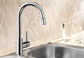 Смеситель для кухонной мойки однорычажный с высоким выдвижным изливом, хром Blanco MIDA-S 521454
