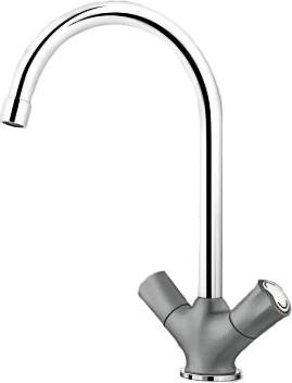 Классический кухонный вентильный смеситель с высоким изливом, хром / алюметаллик Blanco AMONA 520771