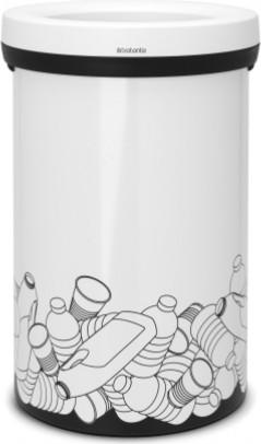 Мусорный бак с открытым верхом 60л белый с рисунком Brabantia Open Top 402746