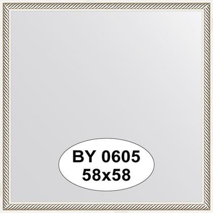 Зеркало 58x58см в багетной раме витое серебро Evoform BY 0605