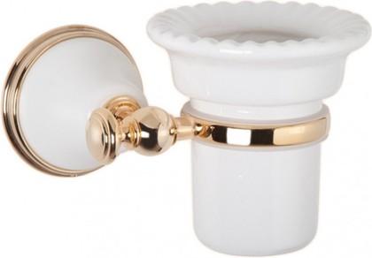 Стаканчик настенный керамический, белый/золото TW Harmony TWHA109bi/oro