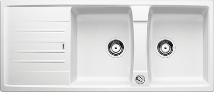 Кухонная мойка оборачиваемая с крылом, с клапаном-автоматом, гранит, белый Blanco Lexa 8 S 514702