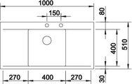 BLANCO FLOW 45 S-IF Схема с размерами вид сверху