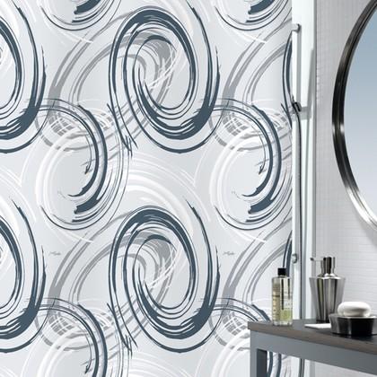 Штора для ванны 180x200см текстильная сине-голубая Spirella PINTO 1014585