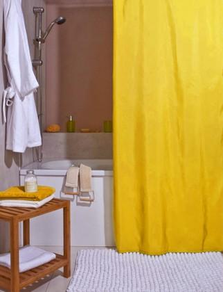 Штора для ванной комнаты 180x200см текстильная жёлтая Spirella ATLAS 4005712