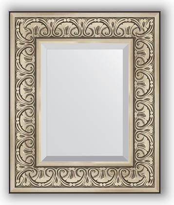 Зеркало с фацетом в багетной раме 50x60см барокко серебро 106мм Evoform BY 3372