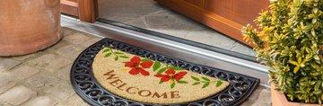 Коврик придверный полукруглый Golze Coco Relief Welcome цветы 45х75, кокос-резина 547-30-14