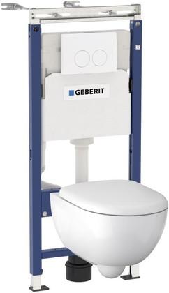 Унитаз с инсталляцией Geberit Renova Compact, крышка-сиденье, кнопка белая 500.122.TC.R