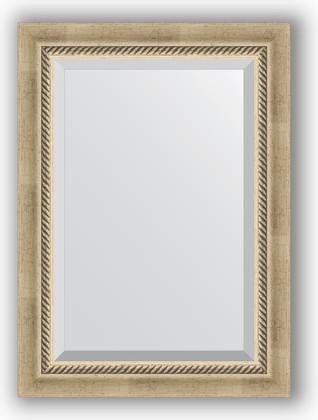 Зеркало 53x73см, с фацетом 30мм в багетной раме старое серебро с плетением Evoform BY 1122