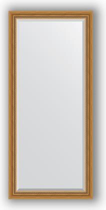 Зеркало с фацетом в багетной раме 73x163см состаренное золото с плетением 70мм Evoform BY 3587