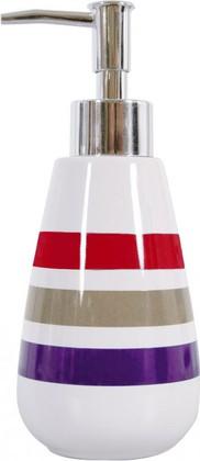 Ёмкость для жидкого мыла керамическая белая в красную полоску Spirella Rayures 4007038