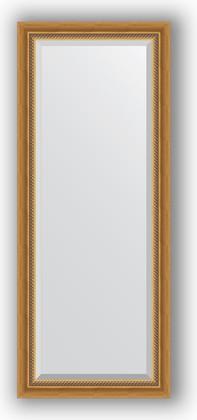 Зеркало с фацетом в багетной раме 58x143см состаренное золото с плетением 70 Evoform BY 3535