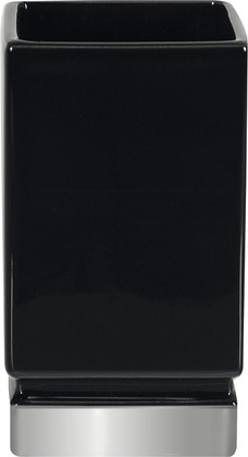 Стакан керамический, чёрный/серебро Spirella Roma 1017972