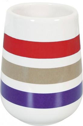 Стакан керамический белый в красную полоску Spirella Rayures 4007037