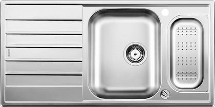 Кухонная мойка оборачиваемая с крылом, с клапаном-автоматом, коландером, нержавеющая сталь полированная Blanco Livit 6 S Centric 516191