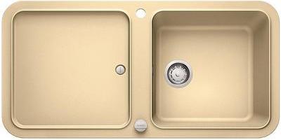 Кухонная мойка оборачиваемая с крылом, с клапаном-автоматом, гранит, шампань Blanco Yova XL 6 S 519589
