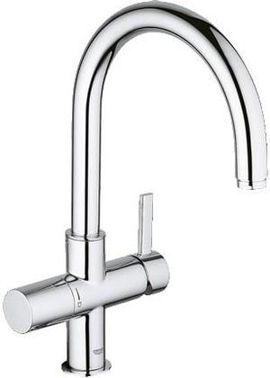 Смеситель для кухонной мойки однорычажный с подключением фильтра для очистки воды, хром Grohe BLUE 123375