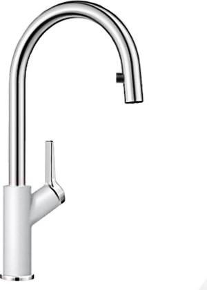 Смеситель кухонный однорычажный с высоким выдвижным изливом, белый Blanco CARENA-S 520984