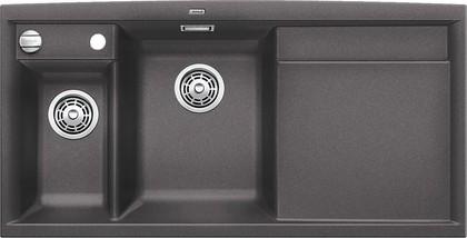 Кухонная мойка чаши слева, крыло справа, с клапаном-автоматом, с коландером, гранит, тёмная скала Blanco Axia II 6 S 518829