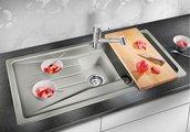Кухонная мойка оборачиваемая с крылом, гранит, алюметаллик Blanco Sona 6 S 519854