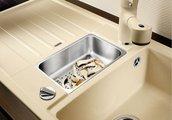 Кухонная мойка оборачиваемая с крылом, с клапаном-автоматом, коландером, гранит, кофе Blanco Lexa 6 S 515060