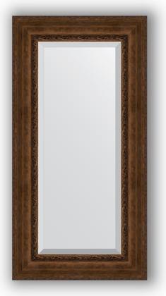 Зеркало с фацетом в багетной раме 62x122см состаренная бронза с орнаментом 120мм Evoform BY 3507