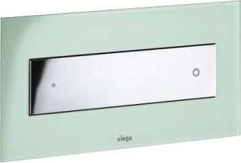 Кнопка смыва для унитаза, прозрачное стекло цвета зелёной мяты и хромированная клавиша Viega Visign for Style 12 690953