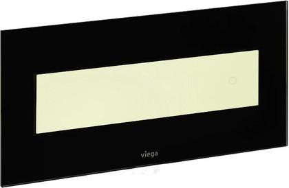 Кнопка смыва для унитаза, чёрное стекло и белая пластиковая клавиша Viega Visign for Style 12 690625