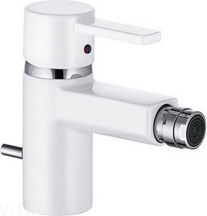 Смеситель для биде однорычажный с донным клапаном, белый / хром Kludi ZENTA 385309175