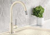 Смеситель для кухонной мойки однорычажный с высоким выдвижным изливом, SILGRANIT серый беж Blanco MIDA-S 521460