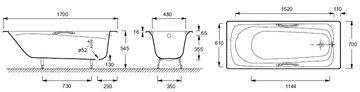 Ванна чугунная Jacob Delafon Melanie 170x70см с отверстиями для ручек, antislip E2925-00