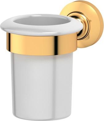 Стакан фарфоровый с настенным металлическим держателем, золото 3SC STI 203