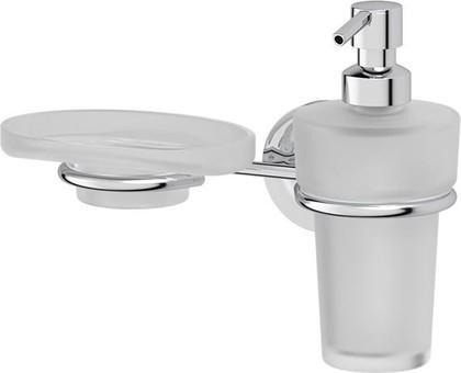 Дозатор для жидкого мыла с мыльницей Ellux Elegance настенный, матовый хрусталь, хром ELE 008/ELU 006/ELU 004