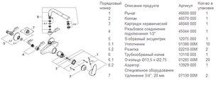 Смеситель настенный однорычажный для кухни, хром Grohe EURODISC 33773001