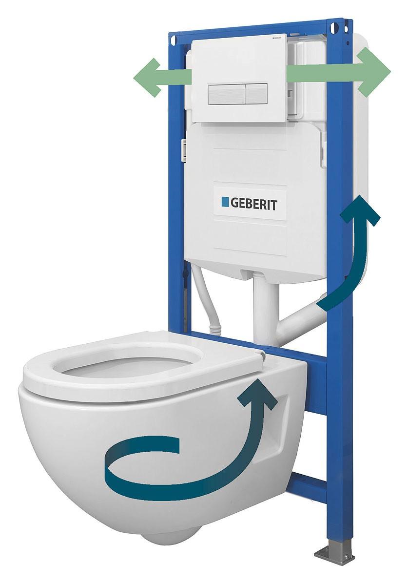 Схема удаления запахов из чаши унитаза системой вытяжки Geberit DuoFresh