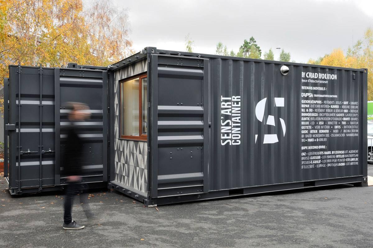 Гостиничный номер из грузовых контейнеров - снаружи. Вид Б