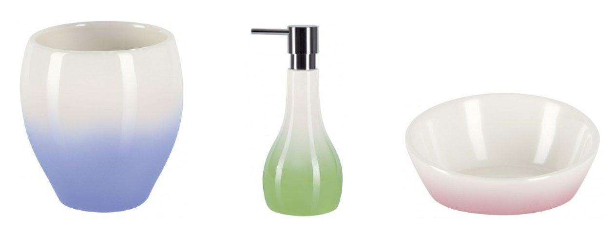 Стакан для зубной щётки и полоскания рта, дозатор жидкого мыла и мыльница с градиентными переходами в цветовом оформлении поверхностей, созданные в концепции ENDLESS SUMMER (BALI) от Spirella 2016