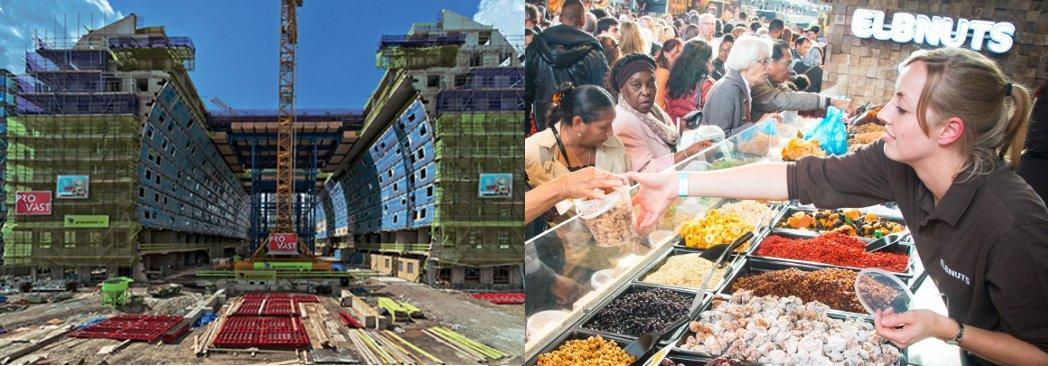 Первый крытый продовольственный рынок Нидерландов Markthal Rotterdam. Стройка и будни воплощённого проекта